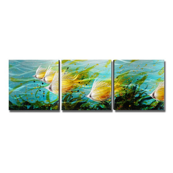 3Pcs/Set Colorful Fishes Wall Art Modern Painting Home Decoration 5 Panels Decor Accessories for Living Room Decorative As Gift