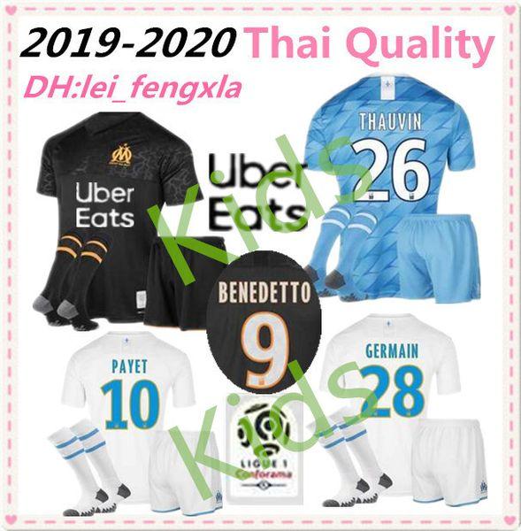 Çocuklar Kiti 19 20 Olimpik Marsilya BENEDETTO Futbol forması 2019 2020 OM Marsilya Maillot De Ayak PAYET L. GUSTAVO THAUVIN futbol formaları