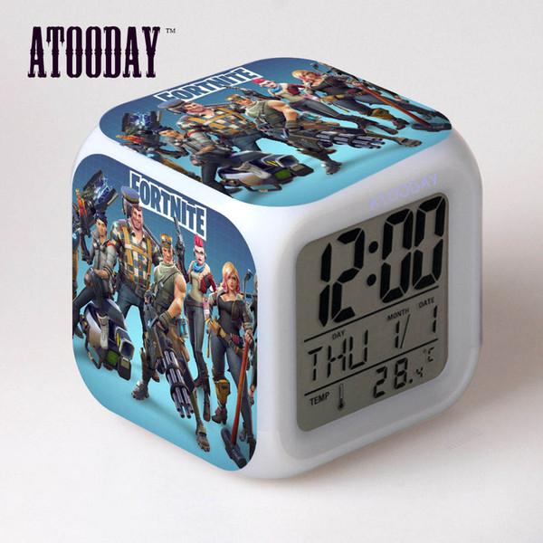 Alarm Clock Lcd Display 7 Color Change Led Light Watch Square Table Projection Clock Bedside Led Digital Digital Car Dashboard