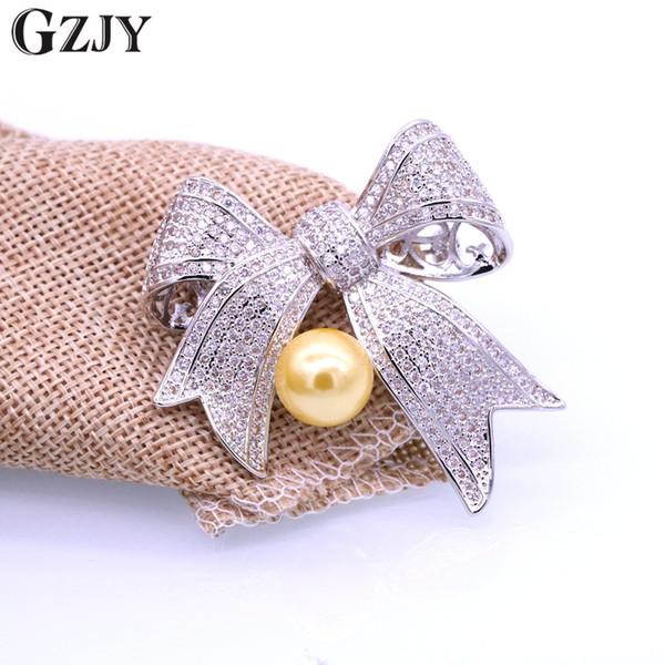 Modeschmuck Bogen Weißes Gold Pated PearlZircon Schal Broschen Pins / Anhänger Kleidung Zubehör Für Frauen Weihnachtsgeschenk