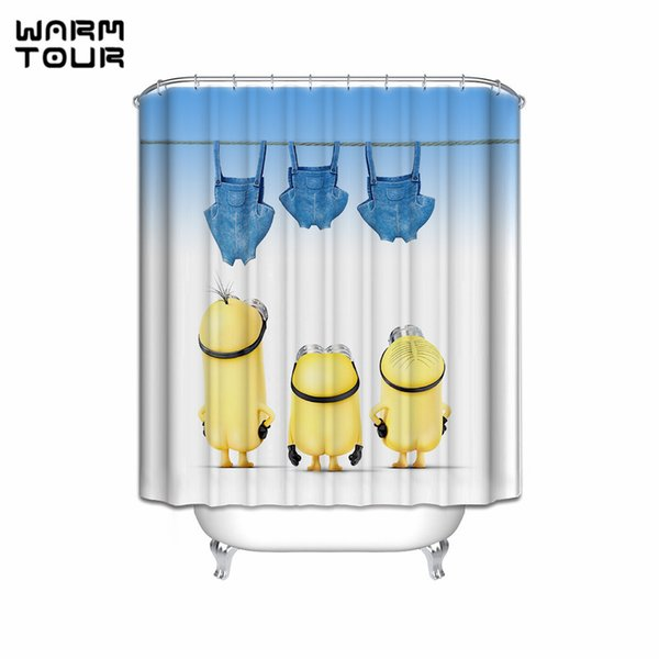 Warm Tour Custom Cute Cartoon Mischievous Minions Series Hang Clothes and Dry Shower Curtain Fabric Waterproof Bathroom Curtains C18112201