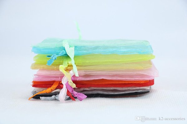 200pcs Mixed Colors Organza Jewelry Bags Pouches 10x15cm Wedding Christmas Gift Bag Drawstring Pouches Jewelry Packaging Display