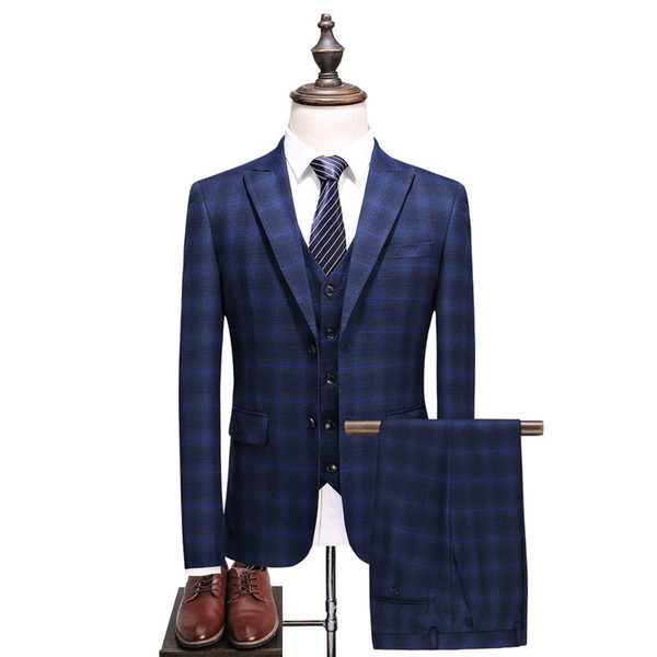 Men's suit men's spring and autumn new business casual plaid suit three-piece suit (coat + pants + vest) men's wedding banquet formal dress