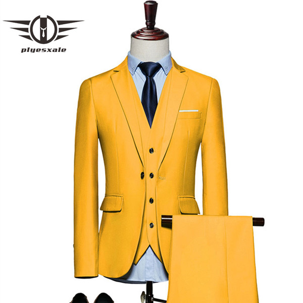Plyesxale Mens Suits 2018 Slim Fit 3 Piece Costume De Mariée Mariage 4xl 5xl 6xl Rouge Jaune Vert Foncé Blanc Pourpre Costumes Pour Hommes Q20 Y190418