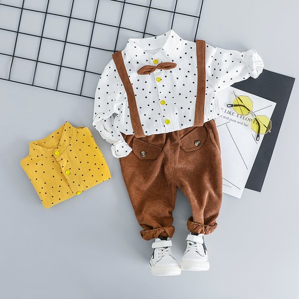 2019 Toddler Infant Clothes Suits Gentleman Style Baby Boys Clothing Sets Star Shirt Bib Pants Kids Children Costume
