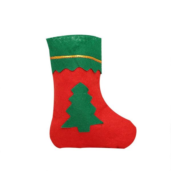 Рождественские чулки 14 * 20 см небольшой размер конфеты мешок Xmas Tree подарочные пакеты рождественские украшения дома 2 шт ePacket