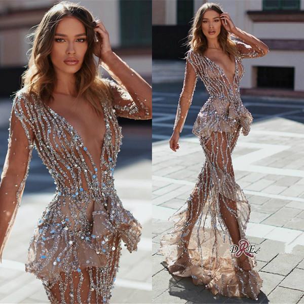 Sexy Pailletten Prom Kleider 2019 Tiefem V-ausschnitt Spitze Perlen Illusion Langarm Abendkleid Party Tragen Maßgeschneiderte Kleider Für Besondere Anlässe