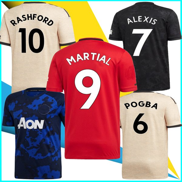 2019 20 martial pogba rashford soccer jersey united 19 20 man football shirt alexis lingard camiseta de futbol fred utd football maillot, Black;yellow