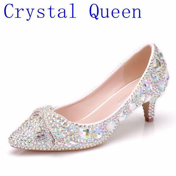 Crysta Lqueen Külkedisi Ayakkabı Kadınlardan Geceye Ziyafet Sıçramak Parlak Parmaklar Yuvarlak Ayak Sırasına Göre Yapılan Strass Ark Düğün Bombalar