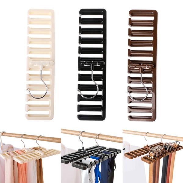 10 Grid Belt Storage Rack 30.5*7.3*1.4cm Tie Belt Scarf Rack Organizer Closet Wardrobe Space Saver Tops Rotating Hanger Holder OOA6049