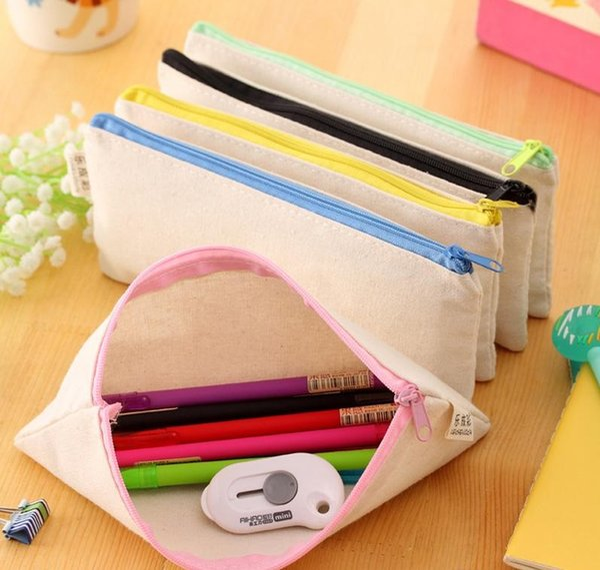 20pcs/lot 20.5*8.5cm DIY White canvas blank plain zipper Pencil pen bags stationery cases clutch organizer bag Gift storage pouch