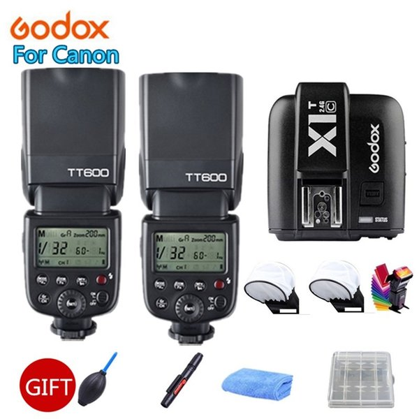 2x Godox600 2.4G Wireless X System Camera Flashes Speedlites With X1T-C Transmitter Trigger for Cameras +Free Gift Kit
