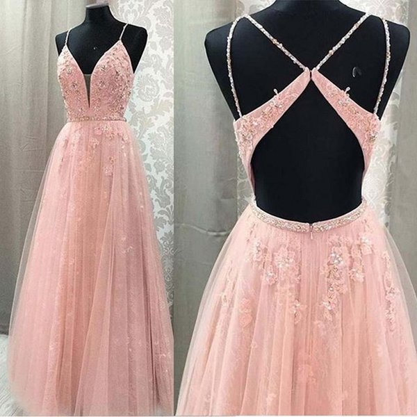 Spaghetti Long Evening Gowns abiye 2019 Pink Prom Gown Zipper Back Formal Party Dress Crystals Appliques robe de soiree