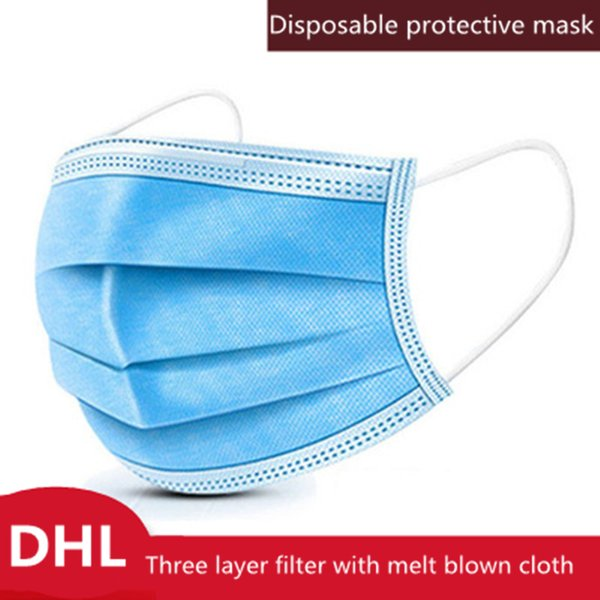 50pcs disposable face mask 3 layer ear-loop dust mouth masks cover 3-ply non-woven disposable dust mask soft breathable outdoor part