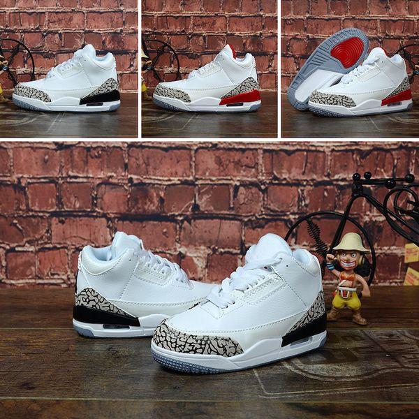 Acheter Nike Air Jordan 3 Chaussure De Basketball Jumpman 3s Rétro J3 Blanc Ciment Lundi Baskets Aj3 Aj Teal Pour Jeunes Enfants Garçons Filles De
