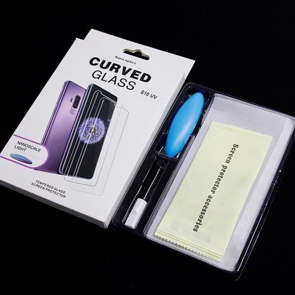 Protecteur d'écran en verre trempé avec une colle UV pour Samsung Galaxy Note 8 9 S6 bord S8 S9 PLUS Case Friendly Full Cover Colle UV liquide 200 PC
