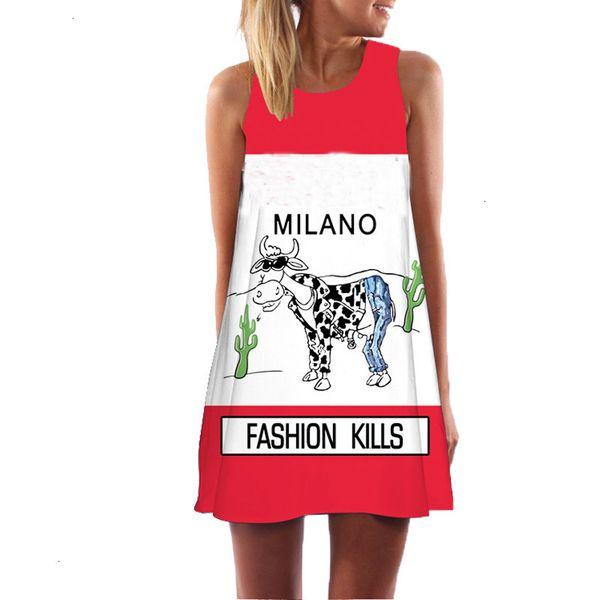 dress summer women cow letter print clothing sleeveless boho style short beach dress sundress casual shift dresses vestido designer clothes