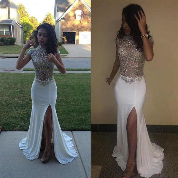 Long Sparkly Prom Dresses 2019 Sexy High Slit Cap Sleeve Heavy Beaded African High Slit Black Girl White Graduation Mermaid Evening Dresses