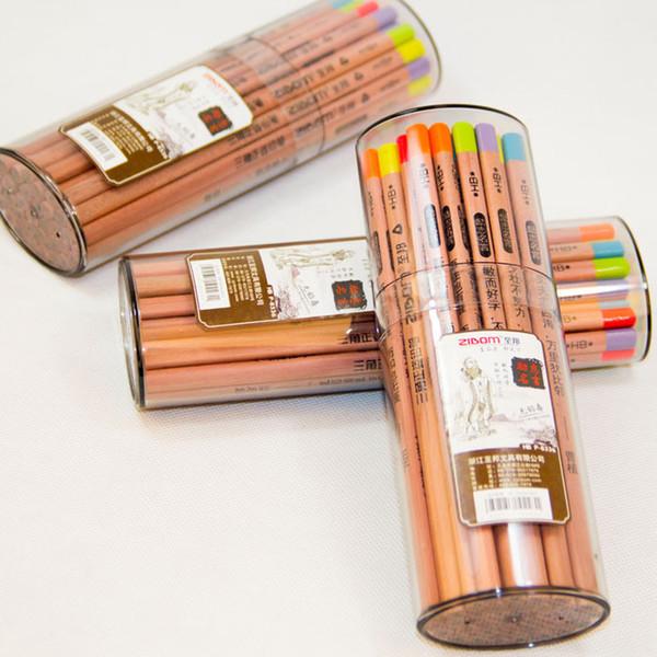 36 crayons / couleur de bonbons en bois de couleur bonbon avec des citations de motivation pour des crayons à mine en bois pour étudiants, à tête triangulaire