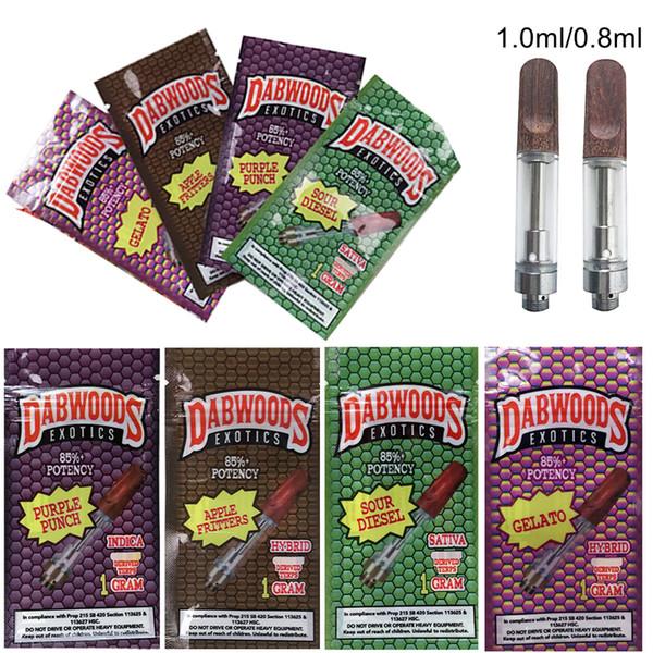 Exotic DABWOODS Vape cartucce Imballaggio 0.8ml 1 ml TH205 ceramica vuota Vape Pen Carrelli legno di legno Tip 510 filo grosso Olio Cera vaporizzatore