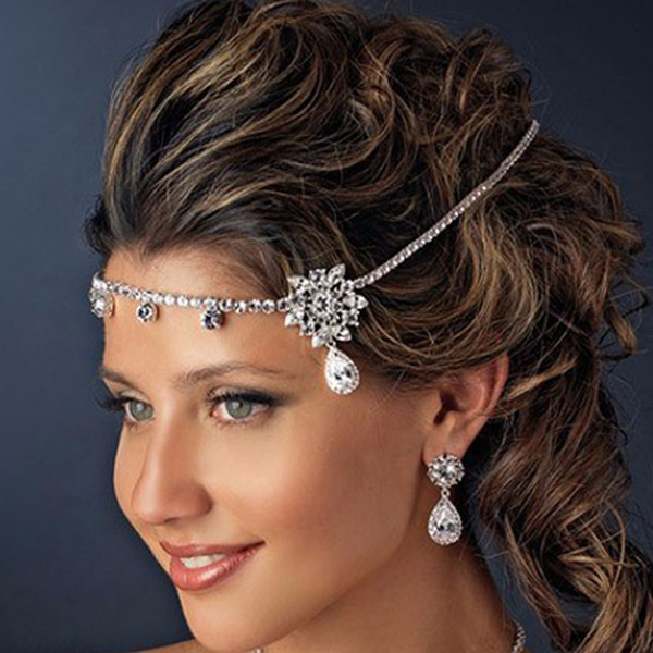 indian jewelry Flower Bridal Head Chain Silver Crystal Headband Wedding Forehead Headpiece Bride Accessories Indian Hair Jewelry For Women