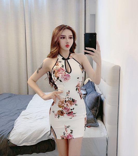 Summer Chinese Style 2019 New White Flower Cheongsam Stand collar Sleeveless Splitting High Waist Short Skirt QC0145
