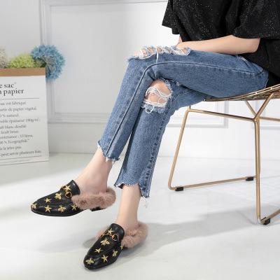 Outono Inverno Sapatos Mulheres Chinelos De Pele Senhoras Estrela Mulas Sapatos Estampas Florais Chinelos Em Casa Bordados Sliders