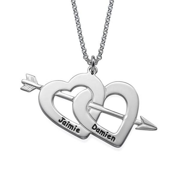 O nome personalizado colar Double Heart para acoplar dois Letra feita sob encomenda Coração Pingente colares Silver Arrow 925 Cadeia