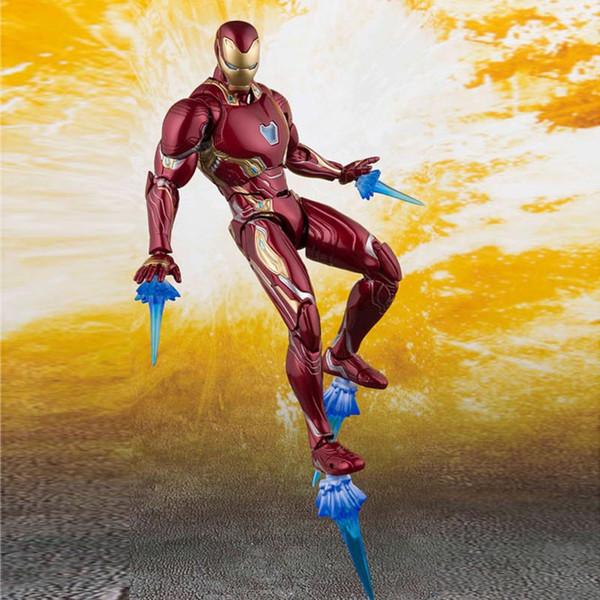 Nouveau The Avengers 4 Fin de jeu SHF Ironman MK50 SHF Guerre infinie os en acier Le modèle Flash mobile Boxed Toy Figure Figure Modèle C23