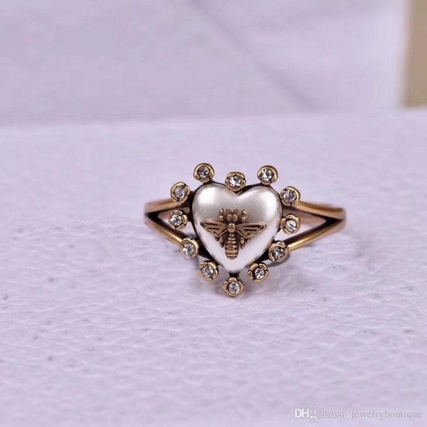 2018 Vintage brass luxurious opened ring with nature colorful pearl decorate and stamp logo charm ring jewelry PS5477