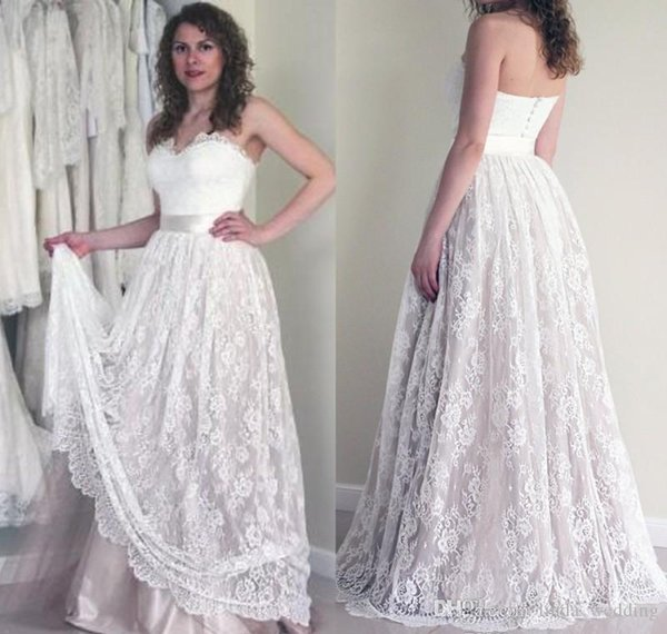 2019 Cheap Full Lace Summer Boho Wedding Dress Vintage A Line Sleeveless Backless Reception Bridal Gown Custom Made Plus Size