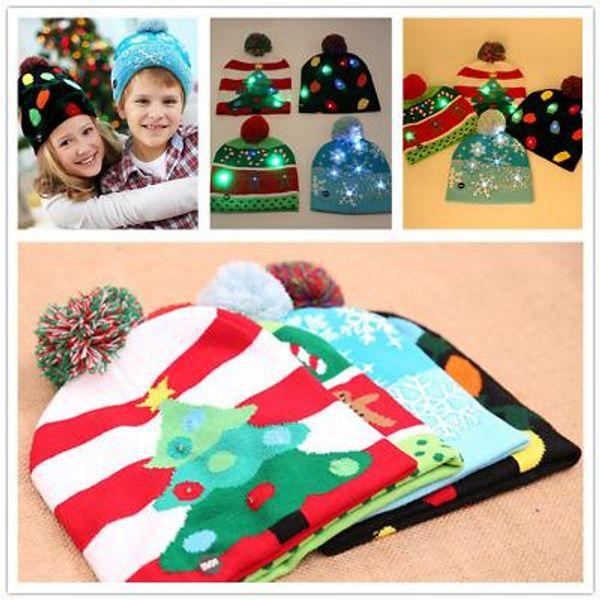 Рождество Hat Beanie LED вязаная шапка Beanie Light Up Cap Фестивали Xmas Партия Шляпы Зимние Теплая шапочка детские аксессуары 3 цвета LJJK1898