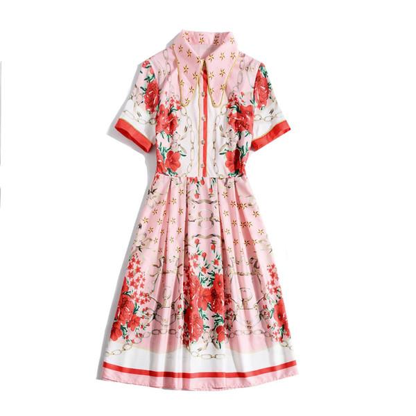 2019 Spring Summer Short Sleeve Lapel Neck Floral Stars Print Patchwork Mid-Calf Length Dress Luxury Runway Dresses MAY1711JYJ5
