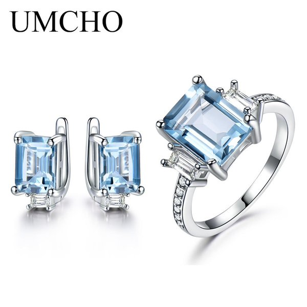 Umcho 925 Sterling Silver Jewelry Set For Women Square Gemstone Sky Blue Topaz Ring Clip Earrings For Women Valentine's Jewelry