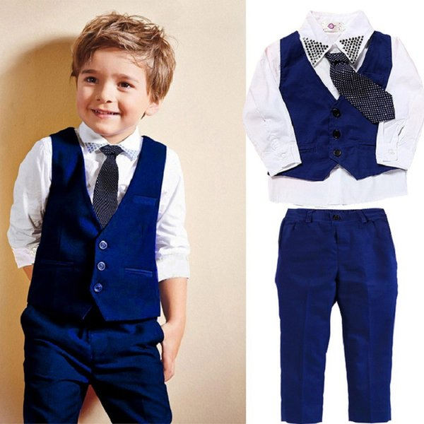 Retail 2019 children's clothing with tie gentleman boys vest+ shirt+ pants 3 piece set blue&white luxury kids designer clothes