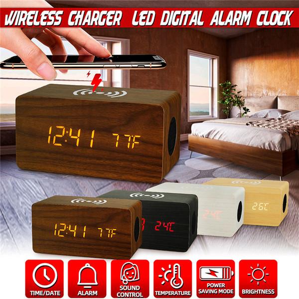 Carregador sem fio carregando LED Digit Relógio Despertador áudio USB Bluetooth Speaker Phone Carregador sem fio Posto Relógio de madeira