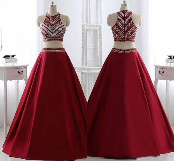 Hot Sale 2019 Two Pieces Prom Dresses Brilliant Red With Rhinestone Party Dresses Fashion Sashes A-Line Evening Prom Dresses