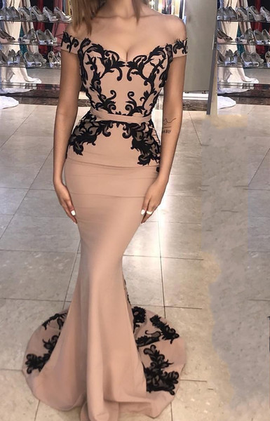 Robes de Soiree Fashion Evening Dresses 2019 Black Lace Prom Dress Long Cheap Mermaid Cocktail Party Formal Gowns Vestidos de Fiesta