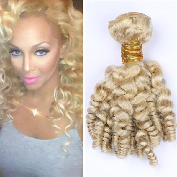 Indian Blonde Bouncy Curly Human Hair Bundles 613 Platinum Blonde Funmi Curly Hair Weave Spiral Romance Curls Hair Extensions 300g