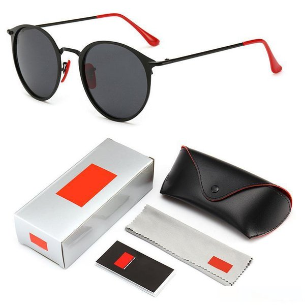 2019 Modern Vintage Round Metal Style Polarized Sunglasses Red Nose Pad 3602 Brand Design Sun Glasses Oculos De Sol with logo and box
