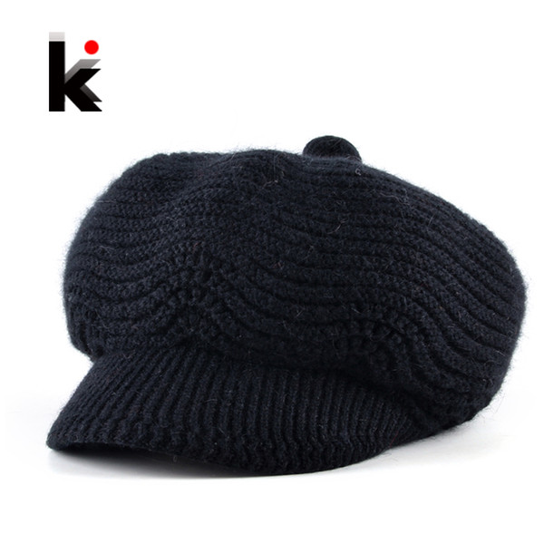 Fashion Newsboy Hats For Women Winter Knitted Rabbit Fur Berets Cap Ladies Add Velvet Double Layer Warm Gorros Boina Feminina