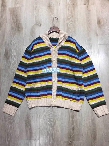 motivo a strisce Knit Shirt donne Colore stampa corrispondenza regolare maglione Maglieria manica lunga giacca camicia 19 delle nuove donne
