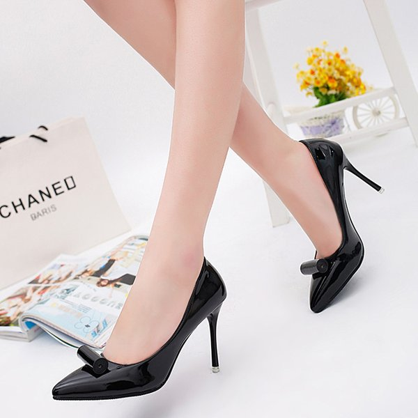 Dress Shoes 2019 Spring And Summer Shallow High Heel Women's Stiletto Pointed High Heels Patent Leather Sexy Women's