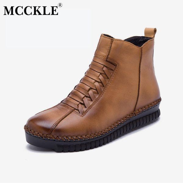 MCCKLE Women Plus Size Ankle Boots Autumn Platform Short Boot Zipper Casual Flat Shoes Anti Skid Footwear Genuine Leather Botas