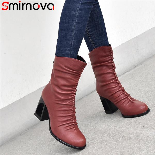 Smirnova 2020 neue Ankunfts Stiefeletten Frauen echtes Leder einzigartig hohe Absätze Büroschuhe Damen plissierten Herbst Winterstiefel