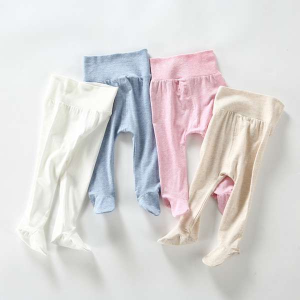 Calças de bebê de algodão infantil leggings baby boy girl footies calças roupas de verão crianças roupas de cintura alta calças de bebê