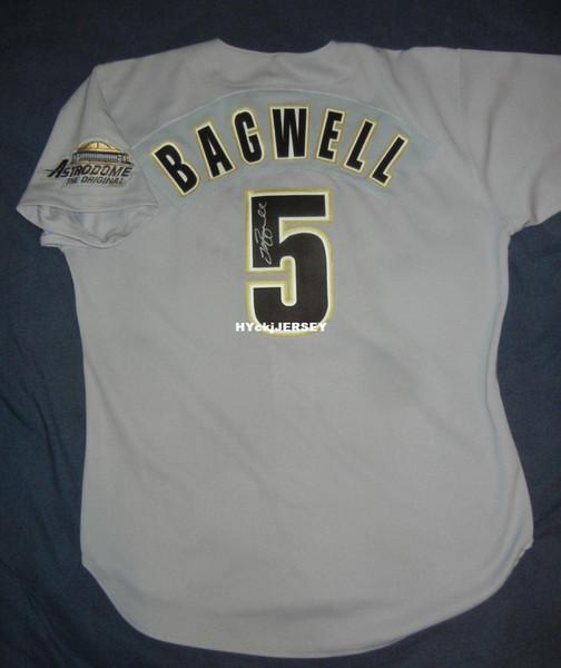 Ucuz Retro # 5 JEFF BAGWELL Russell Atletik HOUSTON Gri Jersey İmzalı İmza Erkek Beyzbol formalar Dikişli