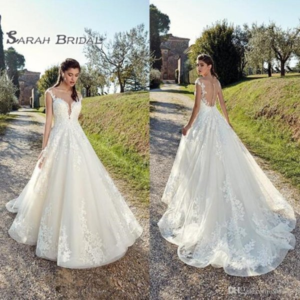 best selling 2019 Vintage Tulle A-Line Bride Dress Sexy Backless Lace Ball Gown Evening Wear Formal Gown High-end Wedding Boutique