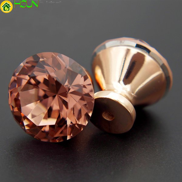 2Pcs Unique Swiss Red Color Diamond Pull Handle Rose Gold Base K9 Crystal Cabinet Drawer Door Knob