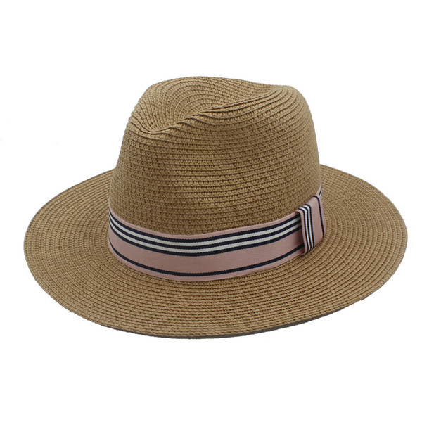 100% Toquilla Straw Women Men Floppy Wide Brim Panama Sun Hat For Elegant Lady Chapeu Feminino Fedora Beach Sunhat 56-58CM